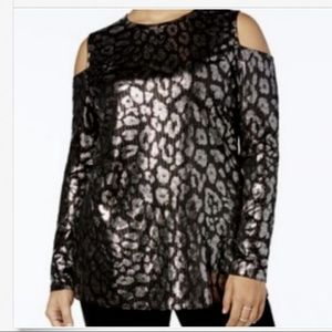 Michael Kors Metallic Leopard Cold Shoulder Blouse